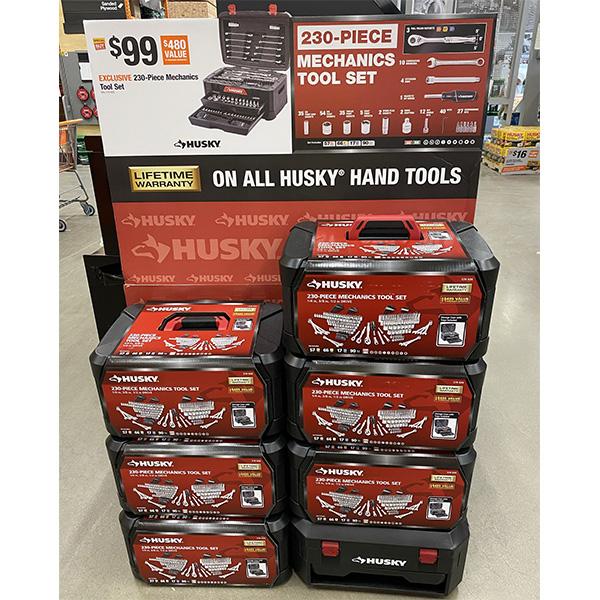 Husky 230pc Mechanics Tool Set Store Display