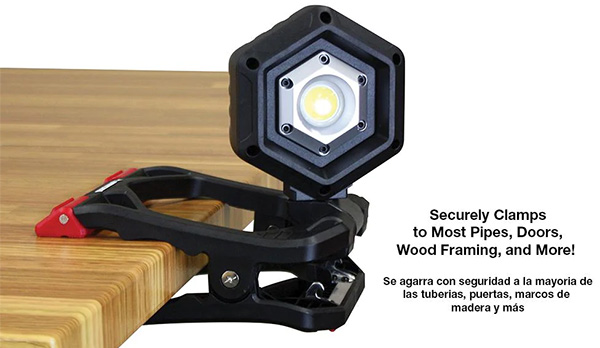 Husky LED Worklight Clamped to Table