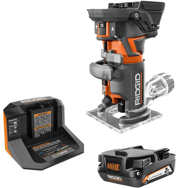 Ridgid 18V Cordless Router with Battery Bundle