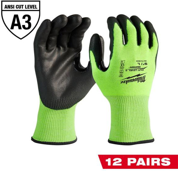 Milwaukee Cut Resistant Gloves Green 12-Pack