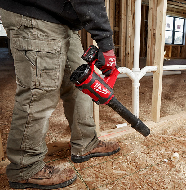 Milwaukee M12 Compact Blower Cleaning Floor