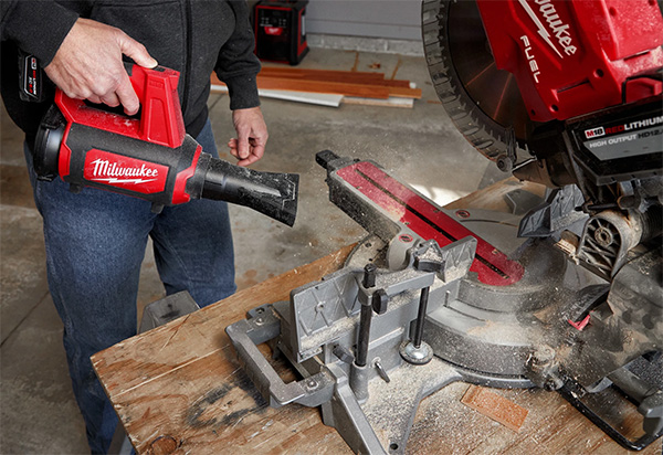 Milwaukee M12 Compact Blower Cleaning Miter Saw