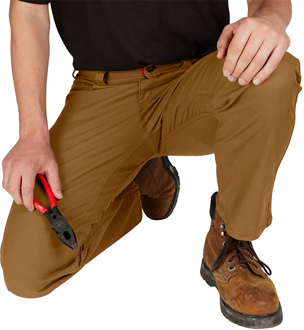 Milwaukee Work Pants in Tan Crouched View