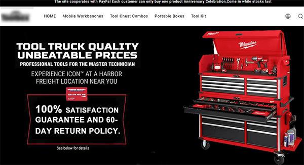 New Milwaukee Tool Box Scam Landing Page