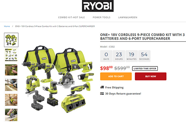Ryobi Tools Scam Cordless Power Tool Combo Kit Listing