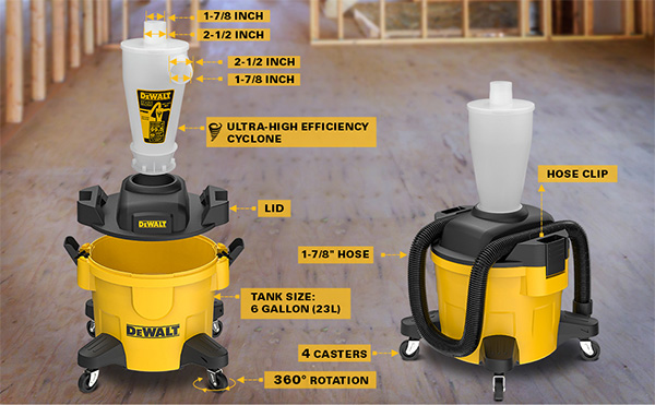 Dewalt Cyclone Dust Separator Features and Specs