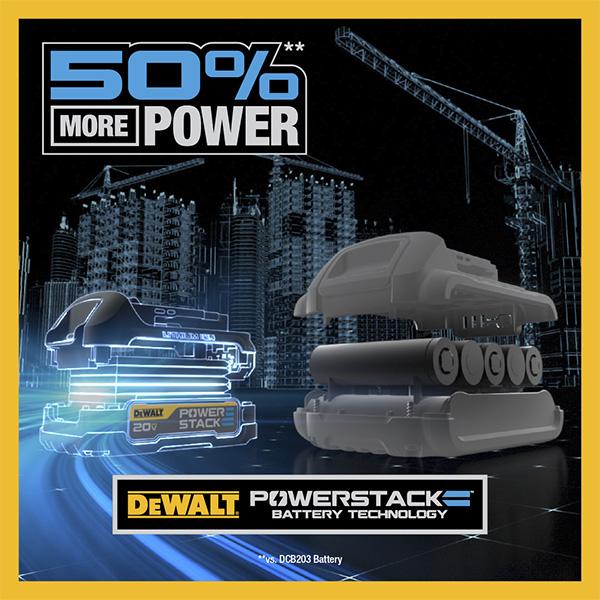Dewalt PowerStack Cordless Power Tool Battery Power Benefit