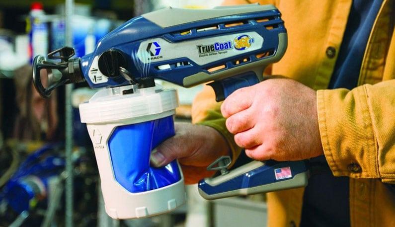 blue truecoat 360 graco paint sprayer and suction tube