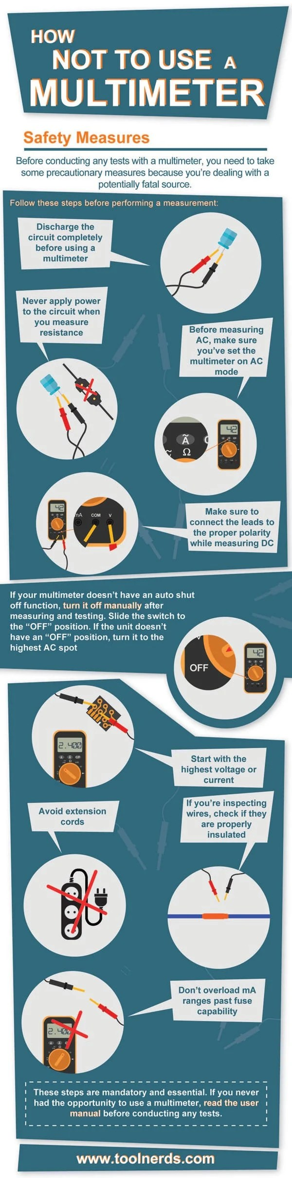 Multimeter safety measures infographic
