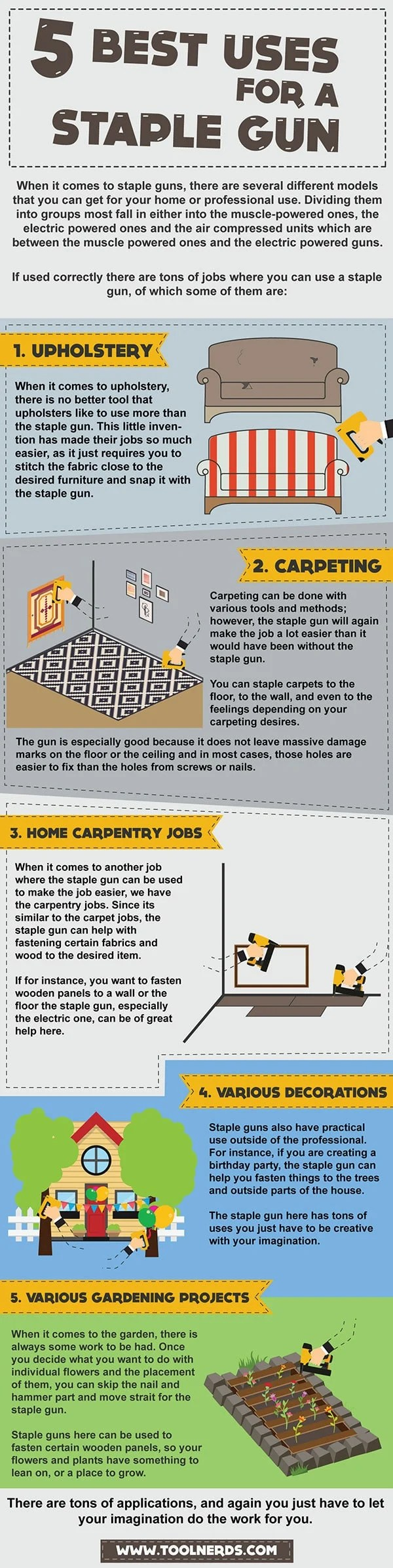 best uses for a staple gun - infographic