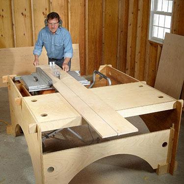 man uses table saw