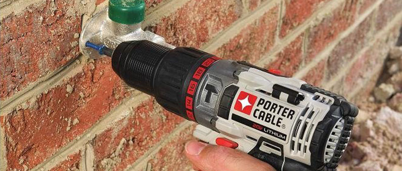 Drilling Wall with Porter-Cable Hammer Drill