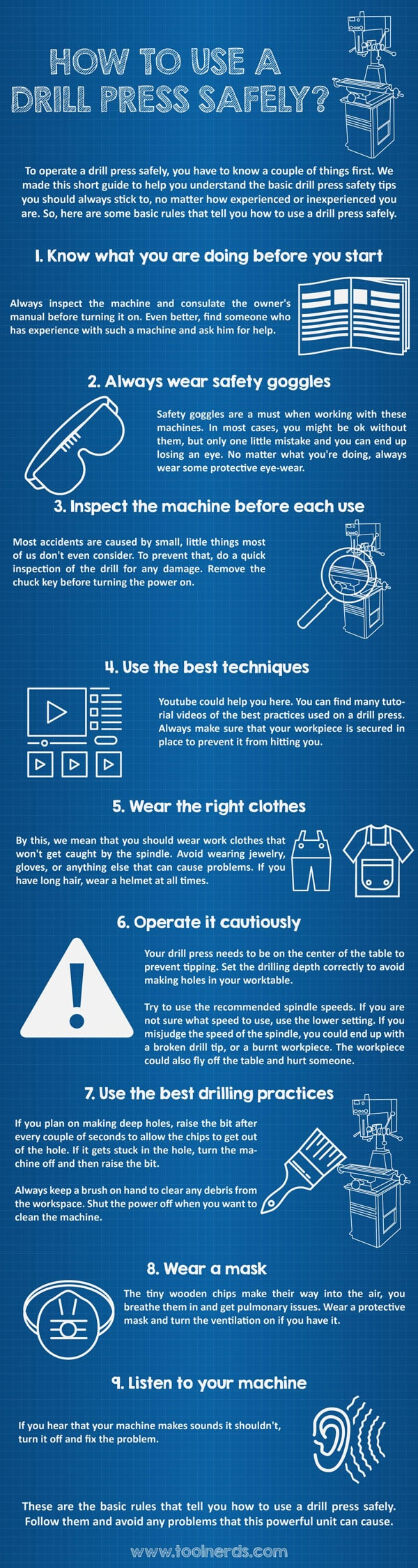 How to Use a Drill Press Safely Infographic