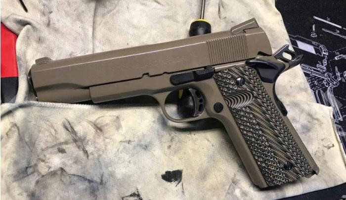 a gun painted brown