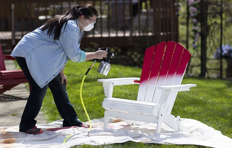 a woman colored her chair in red