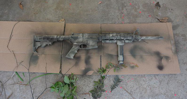freshly painted m4 gun