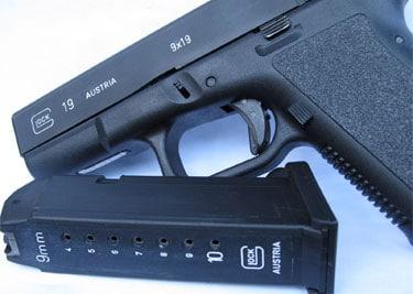 white lettering on black gun removal