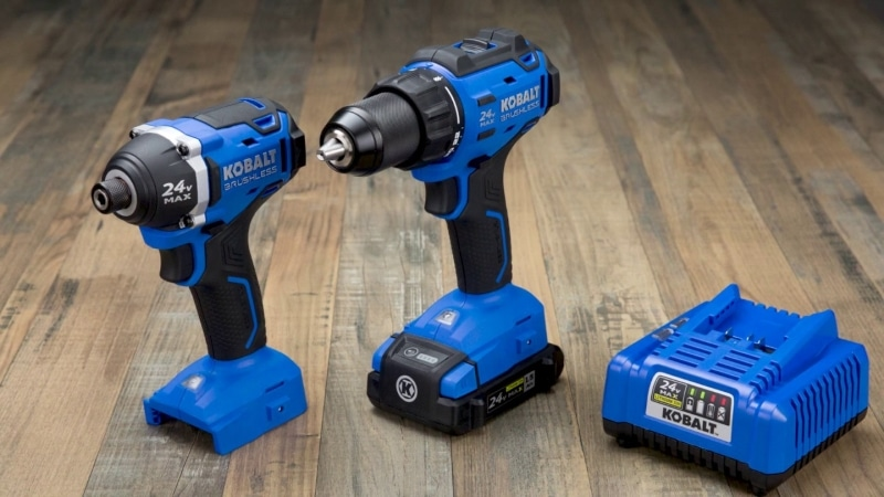 Kobalt 2-Tool 24-Volt Max Lithium Ion Brushless Cordless Combo Kit on the wooden table