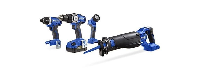 Kobalt 4-Tool 24-Volt Max Lithium Ion Brushless Cordless Combo Kit Tools