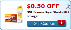 $0.50 off ONE Bounce Dryer Sheets 80ct or larger