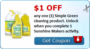$1.00 off any one (1) Simple Green cleaning product. Unlock when you complete 1 Sunshine Makers activity.