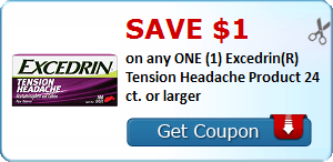 Save $1.00 on any ONE (1) Excedrin(R) Tension Headache Product 24 ct. or larger
