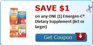 SAVE $1.00 on any ONE (1) Emergen-C® Dietary Supplement (8ct or larger)