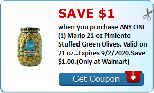 Save $1.00 when you purchase ANY ONE (1) Mario 21 oz Pimiento Stuffed Green Olives. Valid on 21 oz..Expires 9/2/2020.Save $1.00.(Only at Walmart)