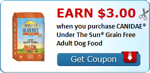 Earn $3.00 when you purchase CANIDAE® Under The Sun® Grain Free Adult Dog Food