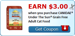 Earn $3.00 when you purchase CANIDAE® Under The Sun® Grain Free Adult Cat Food