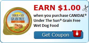 Earn $1.00 when you purchase CANIDAE® Under The Sun® Grain Free Wet Dog Food