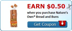 Earn $0.50 when you purchase Nature's Own® Bread and Buns