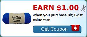 Earn $1.00 when you purchase Big Twist Value Yarn