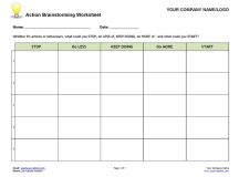 Action Brainstorming Worksheet | Coaching Tools from The ...