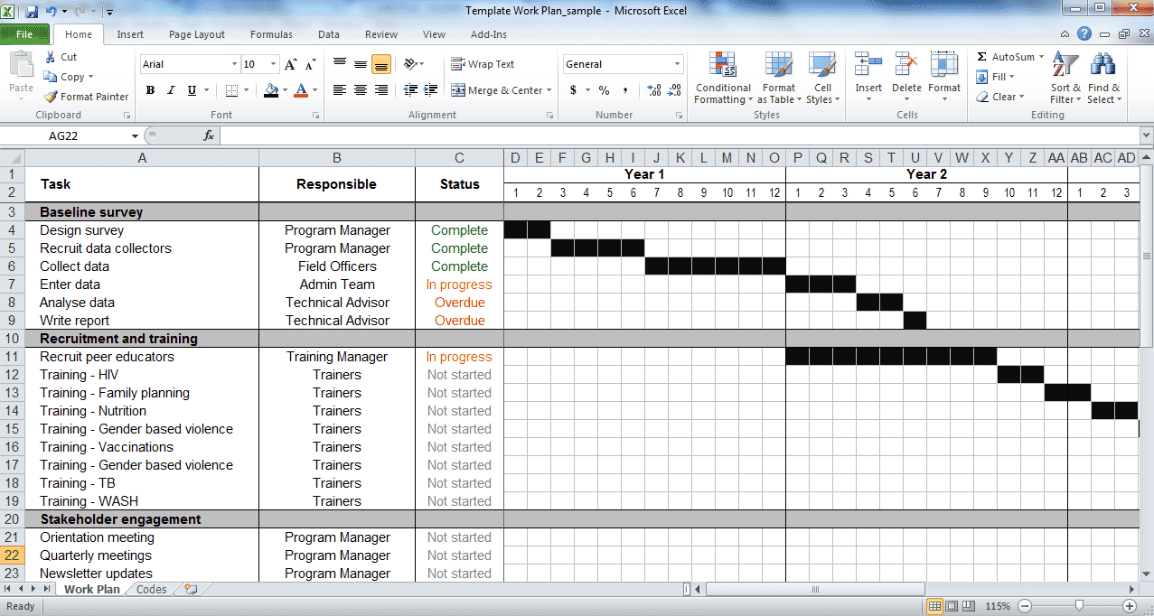 Update status throughout the project. Work Plan Template Tools4dev