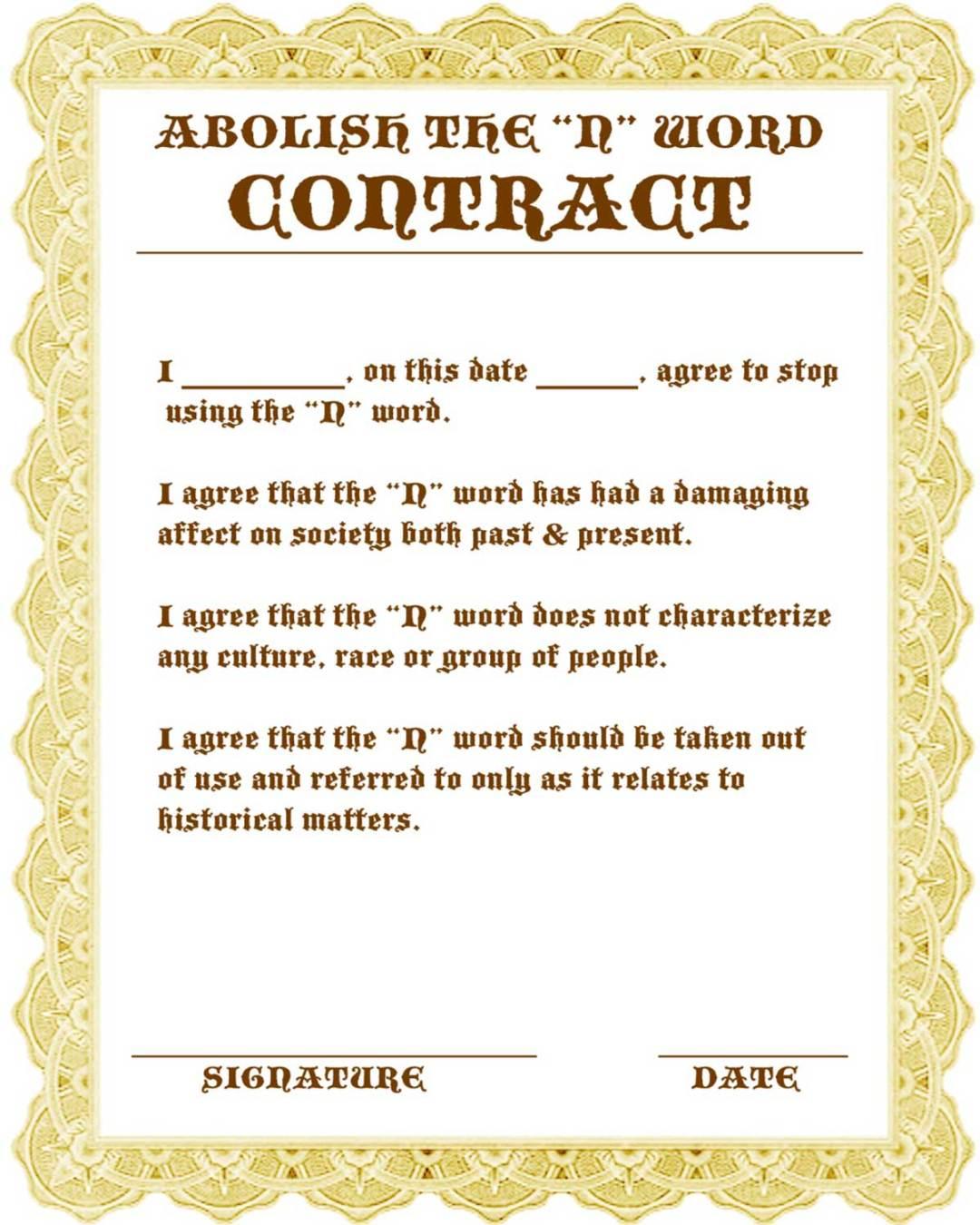 Bury N-Word Contract