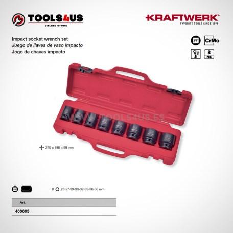 400005 KRAFTWERK herramientas taller barcelona Juego llaves vaso impacto 3 4 Cortos