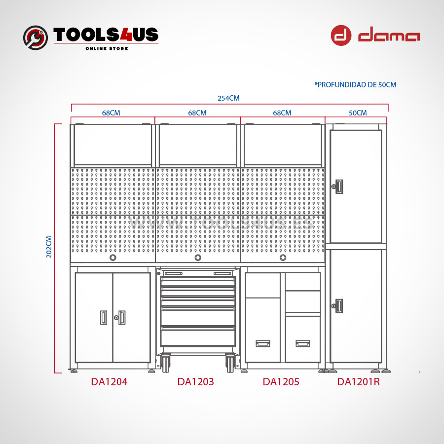 DA1210KITR Mueble taller mobiliario taller garage industria profesional herramientas armarios banco de trabajo dama nrstools nrs 02 - Oferta en mueble de taller con descuento