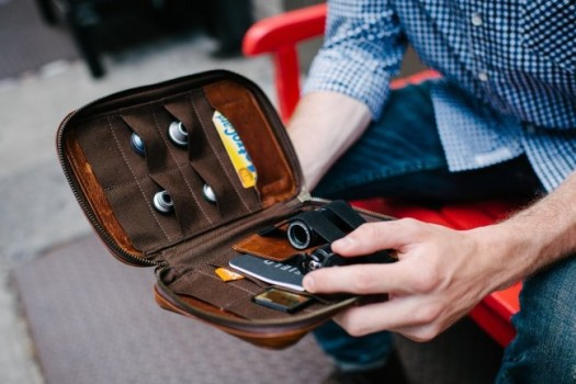 A small, Italian-leather folio designed to hold and protect small photography accessories.