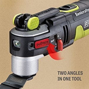 The F80 Sonicrafter is the first oscillating tool that provides two angles in one tool. Choose between 3.4 and 5.0 degrees depending on your project needs