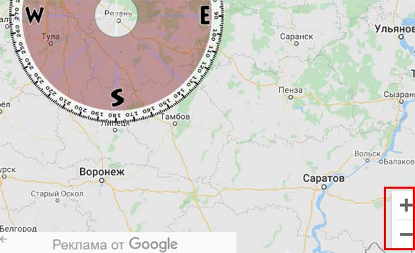 Картаны масштабтау түймелері