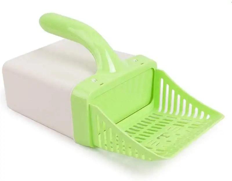 Litter scoop with bag or holder