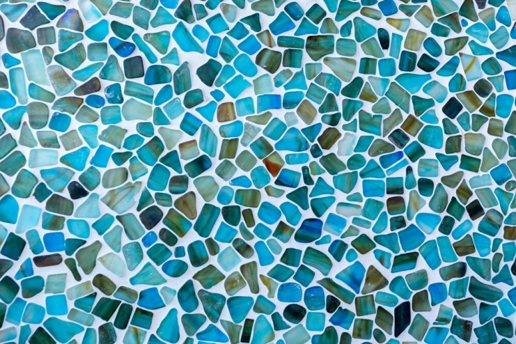 Colorful glass tile mosaic wall