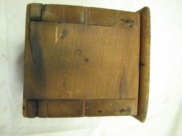 Early Primitive Square Butter Pat Mold Dove Tailed Wood