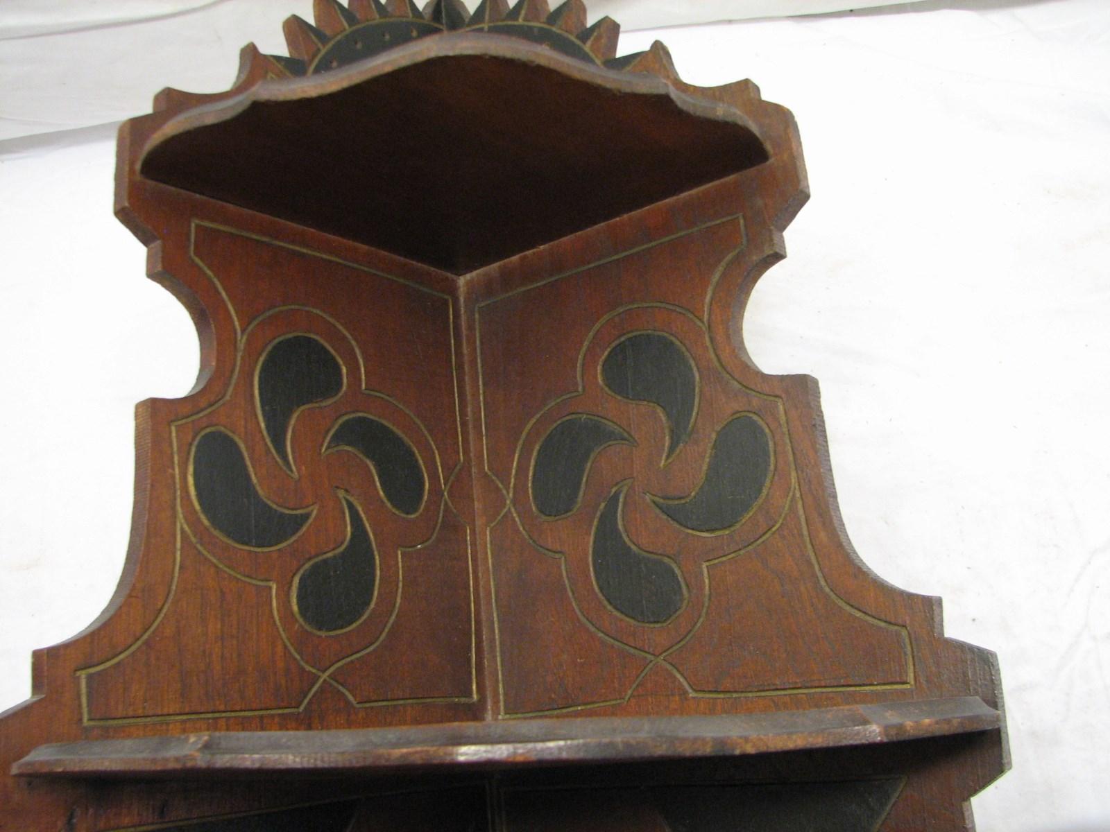 Antique Hand Carved Wooden Corner Shelf Eastlake Ornate