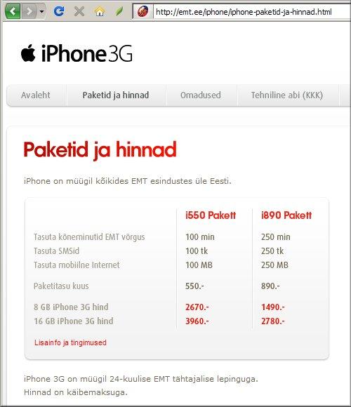 iPhone hinnad
