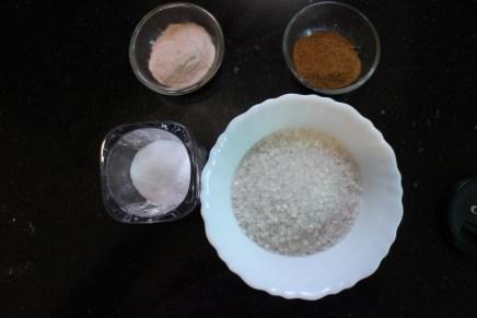 common salt, black salt, roasted cumin seed powder and suger