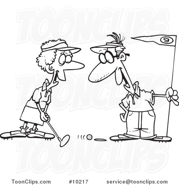 Cartoon Black and White Line Drawing of a Retired Couple