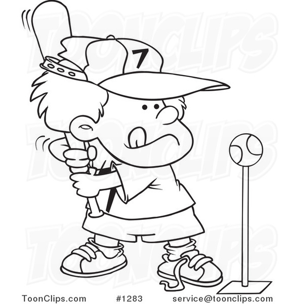 Cartoon Black and White Outline Design of a Boy Playing
