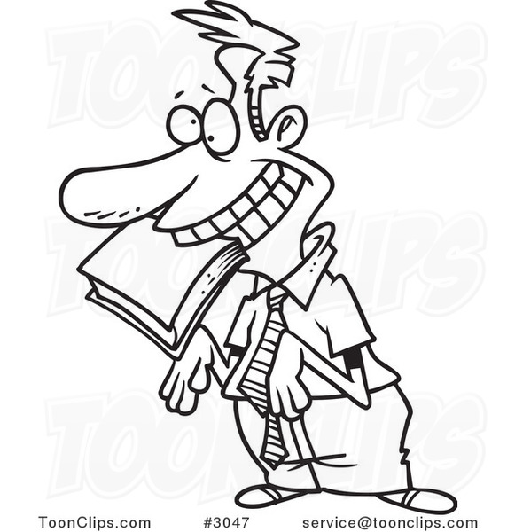 Cartoon Black and White Line Drawing of an Approval